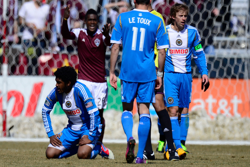 . COMMERCE CITY, CO - MARCH 10: Sheanon Williams (25) of the Philadelphia Union and Atiba Harris (16) of the Colorado Rapids contend for the ball during the first half of action. The Colorado Rapids play the Philadelphia Union at Dick\'s Sporting Goods Park. (Photo By AAron Ontiveroz/The Denver Post)