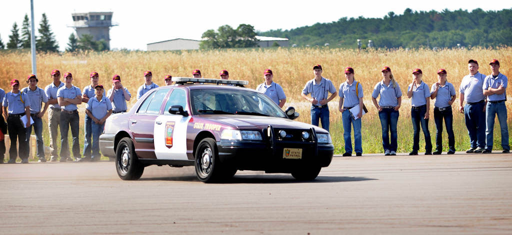. A Minnesota State Trooper lays down skid marks on the EVOC (Emergency Vehicle Operator Course) track in order to show cadets how to calculate speeds of vehicles involved in serious or fatal crashes. (Pioneer Press: Jean Pieri)
