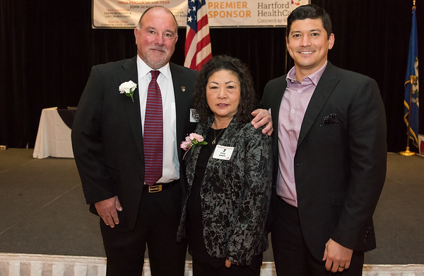 02/06/19 Wesley Bunnell | Staff The Southington YMCA held their 90th Annual Celebration and Recognition dinner at the Aqua Turf Club on Wednesday evening. Person of the Year John DeMello, L, wife Chang DeMello and his son Air Force Major John DeMello Jr.