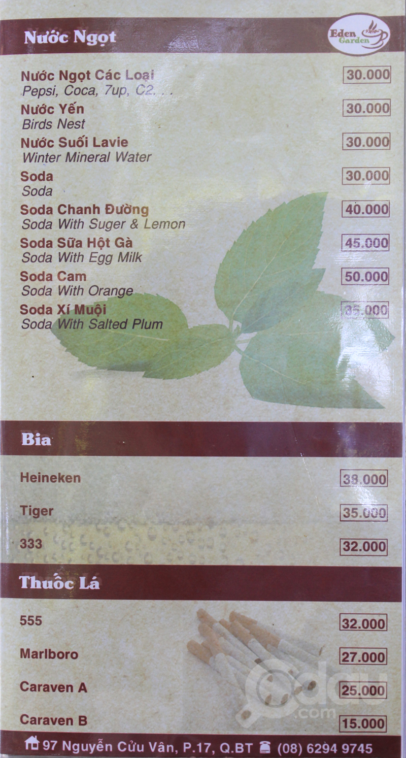 Menu Eden Garden Coffee