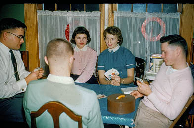 1956-12 - Russ Graham, Marge, Irene and Ray Claus
