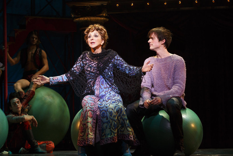 ". This theater image released by Boneau/Bryan-Brown shows Andrea Martin, left, and Matthew James Thomas during a performance of ""Pippin,\"" at Broadway\'s Music Box Theatre in New York.  \""Pippin\"" is nominated for ten Tony Awards. (AP Photo/Boneau/Bryan-Brown, Joan Marcus)"