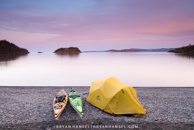 Kayak camping on Victoria Island on Lake Superior.