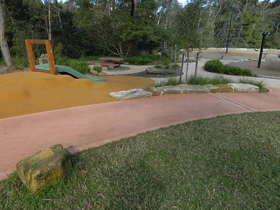 slide on mound with runner softfall and sandstone block edging