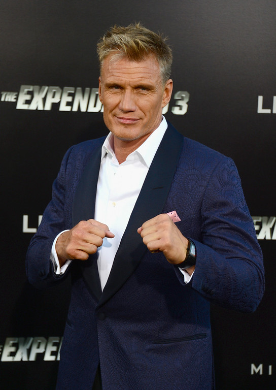 ". Actor Dolph Lundgren attends Lionsgate Films\' ""The Expendables 3\"" premiere at TCL Chinese Theatre on August 11, 2014 in Hollywood, California.  (Photo by Frazer Harrison/Getty Images)"