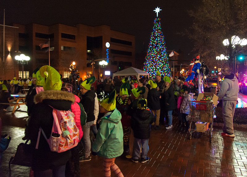 12/05/17   Wesley Bunnell   Staff  New Britain held their annual Tree Lighting at Central Park on Tuesday evening with a visit from Santa Claus.  The line of eager children and adults as they wait for their turn with Santa.