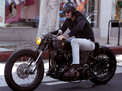 EXC: Easy Rider David Beckham On Vintage Motorbike