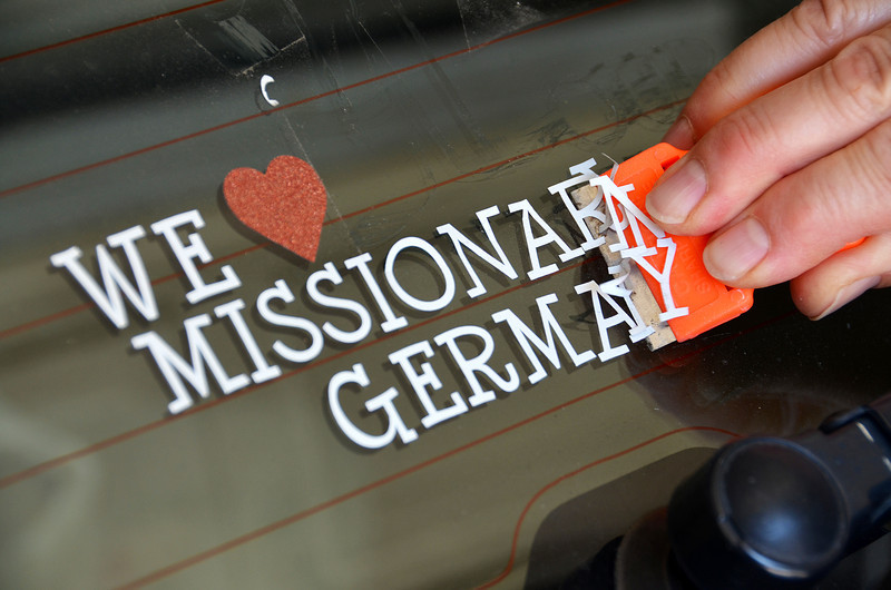 2012-8-25 ––– Well, Sean has been home from his mission in Germany for over a month now so Lisa decided it was time to take her sticker off the back window of her car. It was hard for Lisa to scrape it off, but she no longer has a missionary in Germany. I guess that makes it final now - just a memory and great experience.