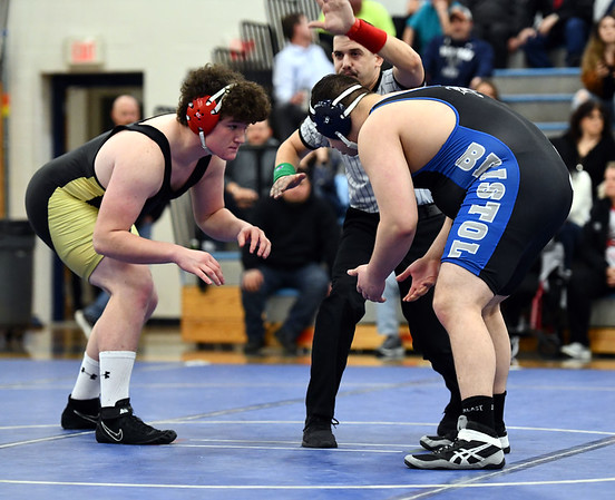 12/27/2019 Mike Orazzi | StaffrBristol Easterns Nick St. Peter and Trumbulls Matt Ryan during the 285 match at Eastern Friday night.