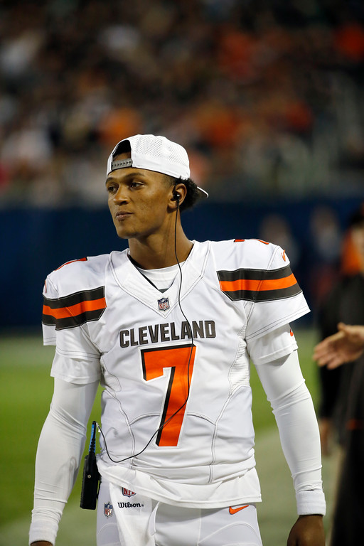 . Cleveland Browns quarterback DeShone Kizer (7) during the second half of an NFL preseason football game against the Chicago Bears, Thursday, Aug. 31, 2017, in Chicago. (AP Photo/Charles Rex Arbogast)