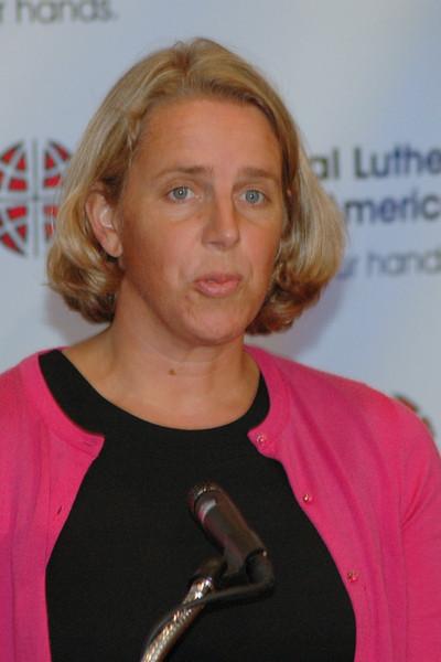 The Rev. Kaari Reierson, Associate Director for Studies during a News Conference.