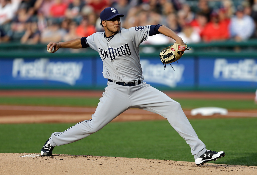 . San Diego Padres starting pitcher Dinelson Lamet delivers during the first inning of the team\'s baseball game against the Cleveland Indians, Thursday, July 6, 2017, in Cleveland. (AP Photo/Tony Dejak)