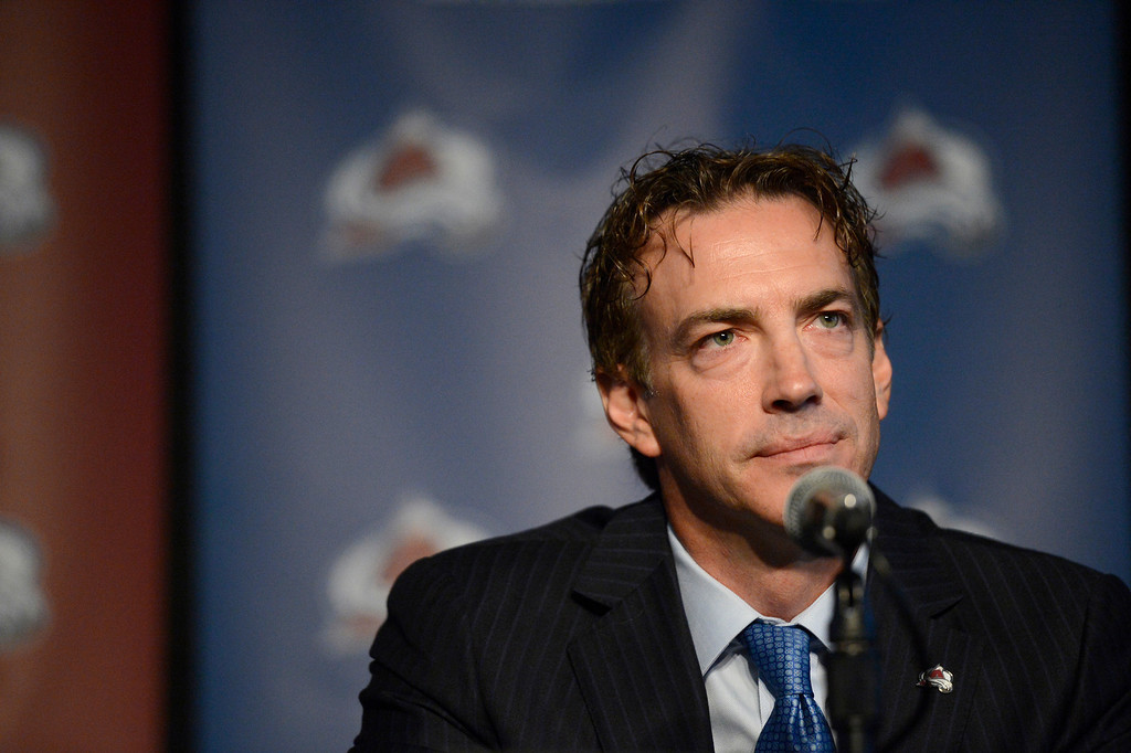 . Executive Vice President of Hockey Operations Joe Sakic looks on during the Avalanche press conference. (Photo By John Leyba/The Denver Post)