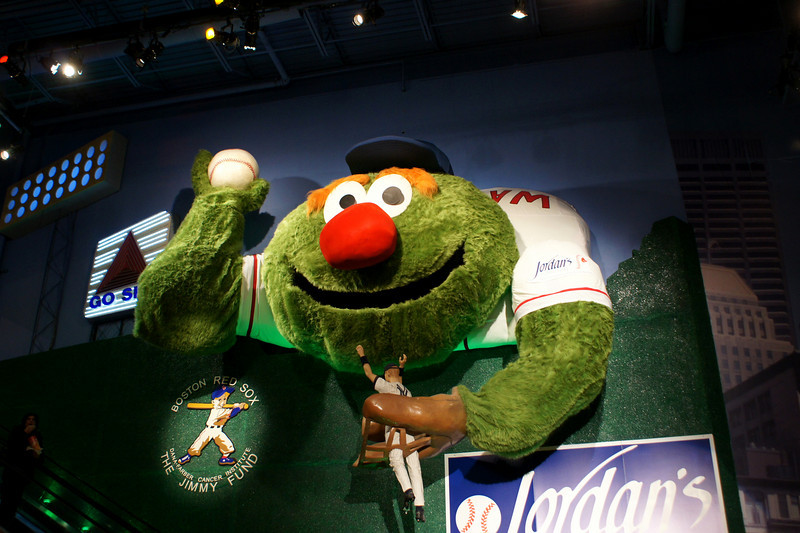 Wally the Green Monster: A massive Wally hte Green Monter getting ready to eat a New York Yankee