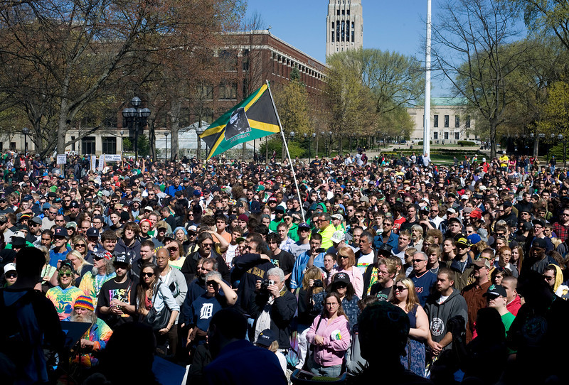 The 41st annual Hash Bash takes place on the University of Michigan campus in Ann Arbor, MI on April 7, 2012.  Despite warnings from cops before the event, the air was filled with marijuana smoke.