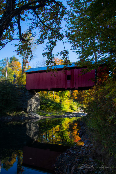 Covered Bridge Reflection - Fall in Woodstock