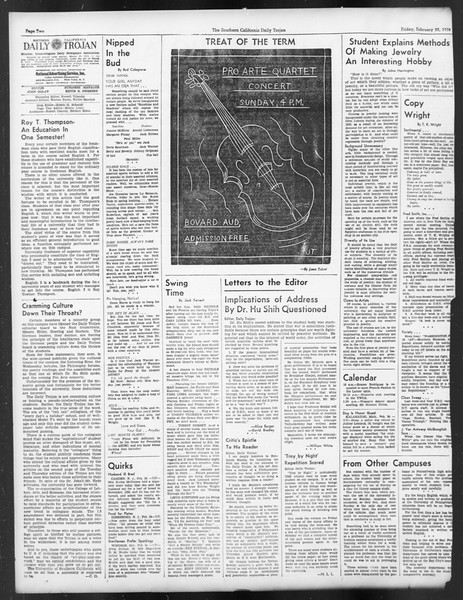 Daily Trojan, Vol. 29, No. 87, February 25, 1938