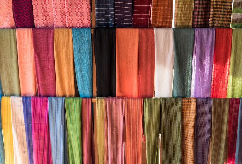 Traditional weavings, Inle Lake, Burma (Myanmar)