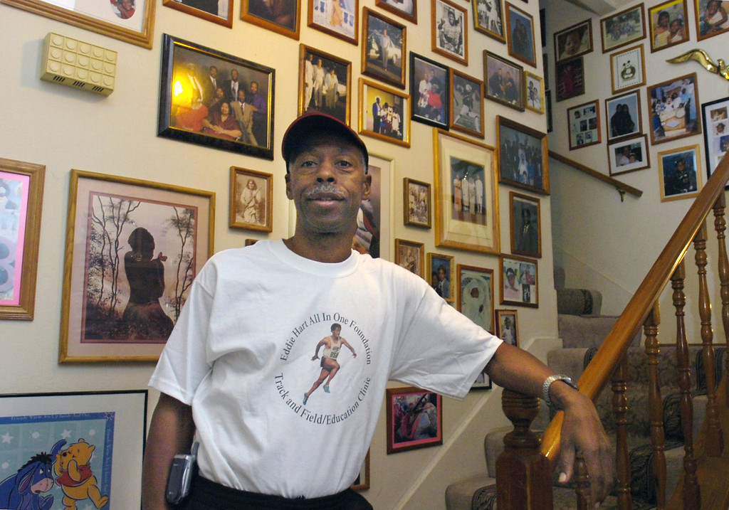 . Former 4x100 relay Olympian Eddie Hart poses at his home in Pittsburg, Calif., on Wednesday, Oct. 4, 2006. (Herman Bustamante Jr./Bay Area News Group Archives)