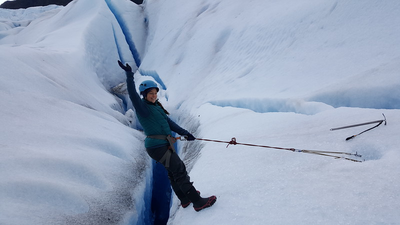 Lina Stock abseiling on a glacier in Alaska