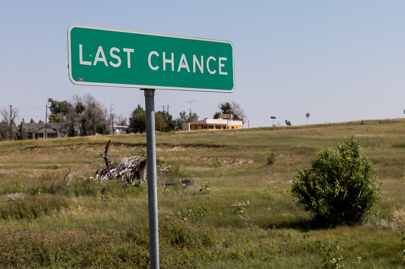 Heading home through Last Chance Colorado, (one stop sign town).