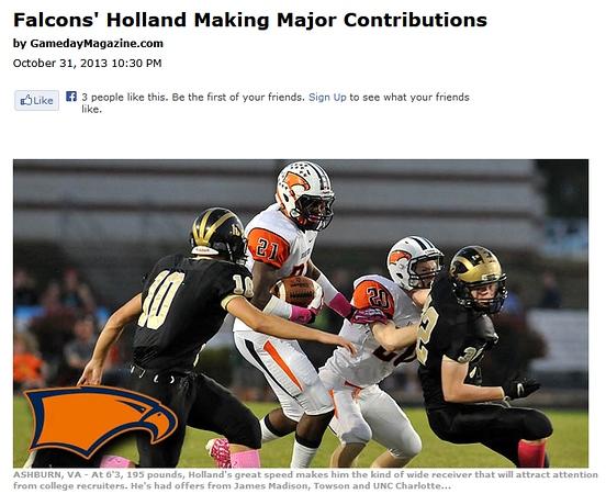 2013-10-31 -- Falcons' Holland Making Major Contributions.jpg