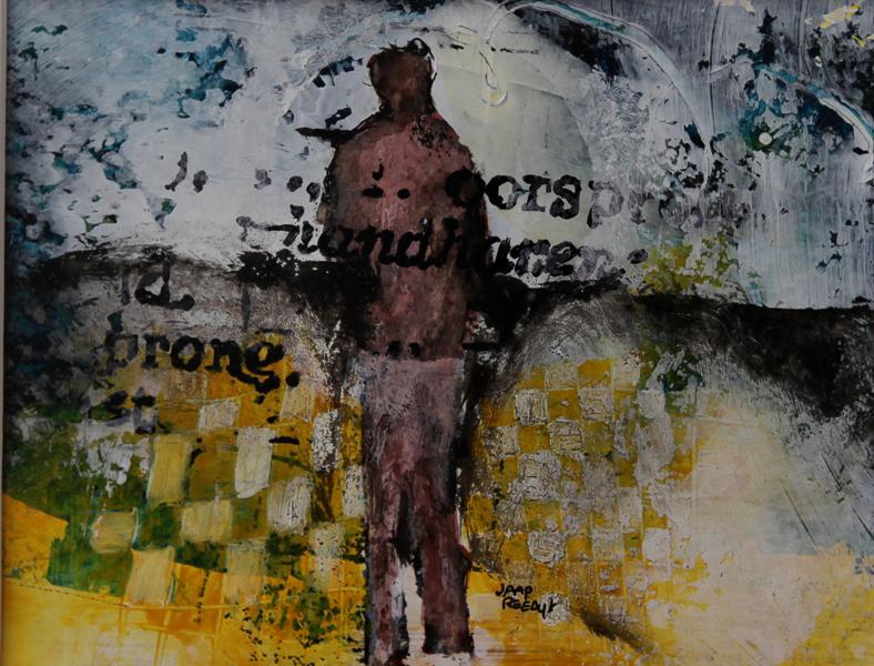 """ORIGINALITEIT18"""", 18x14cm beeldmaat, ingelijst 40x50, mixed media op papier, € 200,00 , Kunstuitleen €12,50 per maand"""