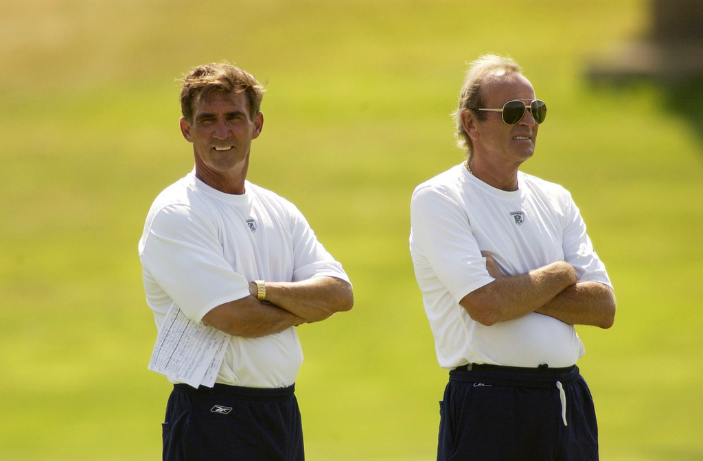 . Head coach Mike Shanahan and team owner Pat Bowlen watch practice from the sidelines during the afternoon as temperatures hit 97 degrees during the Denver Broncos Training camp 2002 in Greeley. JOHN LEYBA, The Denver Post