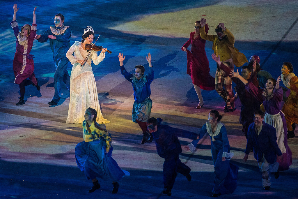 . Dancers perform during the Closing Ceremony of the 2014 Sochi Olympics outside of Fisht Olympic StadiumSunday February 23, 2014.  (Photo by Chris Detrick/The Salt Lake Tribune)