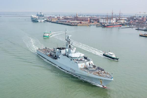HMS Trent departing HMNB Portsmouth