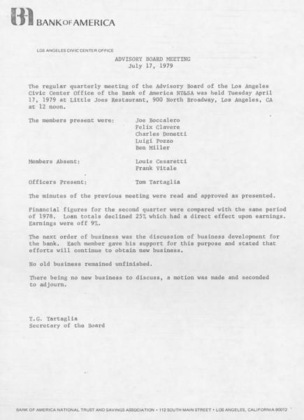 1979, Bank of America Meeting