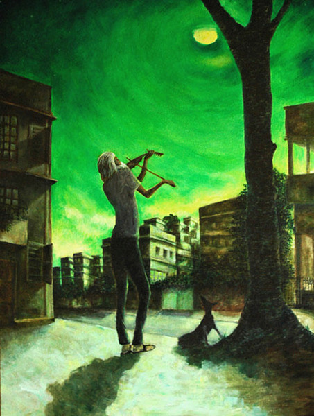 Midnight Violin, Acrylic 3'X4', collection of Albert toes, Calgary, Canada This man used to play violin at midnight on the streets of Kolkata