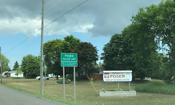"Welcome to Posen, Michigan home of the ""Potato Festival""."