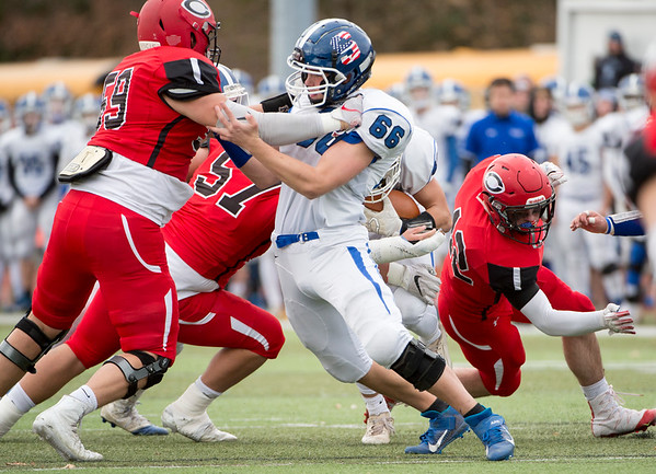 11/28/19 Wesley Bunnell | Staff Southington football vs Cheshire in the Apple Valley Classic on Thanksgiving morning at Cheshire High School. OL David Sullivan (66).