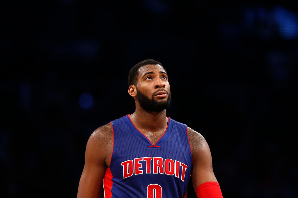 . Detroit Pistons\' Andre Drummond (0) looks up as he walks the court in the final seconds of an NBA basketball game against the Brooklyn Nets Sunday, Dec. 21, 2014, in New York.  Brooklyn beat Detroit 110-105. (AP Photo/Jason DeCrow)