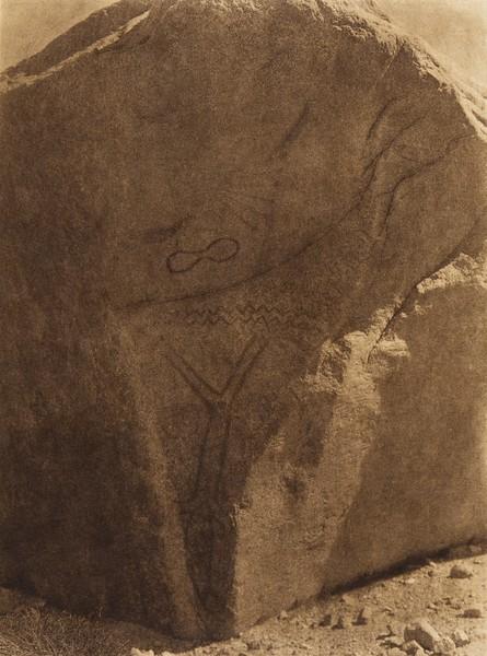 Phallic rock painting at Walker Lake  (The North American Indian, v. XV. Norwood, MA, The Plimpton Press, 1926)