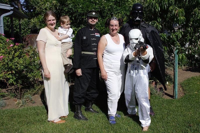 Princess Leia Marbert, Sander Annekin, Grand Moff Tarkin Christopher, Princess Leia Amy, Trooper NX01 David, and Darth Daddy
