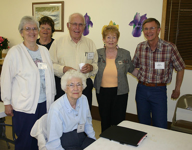 The 2009-10 officers for the Spearfish Area Historical Society were elected during the May meeting.    Seated in front is Mary Selbe, Secretary; others (left-to-right) are: Dorothy Honadel, Treasurer; Cheryl Miller; Paul Dingeman, Vice-President; Callie Houghton; and Rand Williams, President. Not pictured is Laurie Hayes, Programs.  To return to other recent Spearfish Area Historical Society topics, simply click  on  Spearfish History, or you can click on more gallery pages below and continue to scroll down through other photographs from previous presentations.