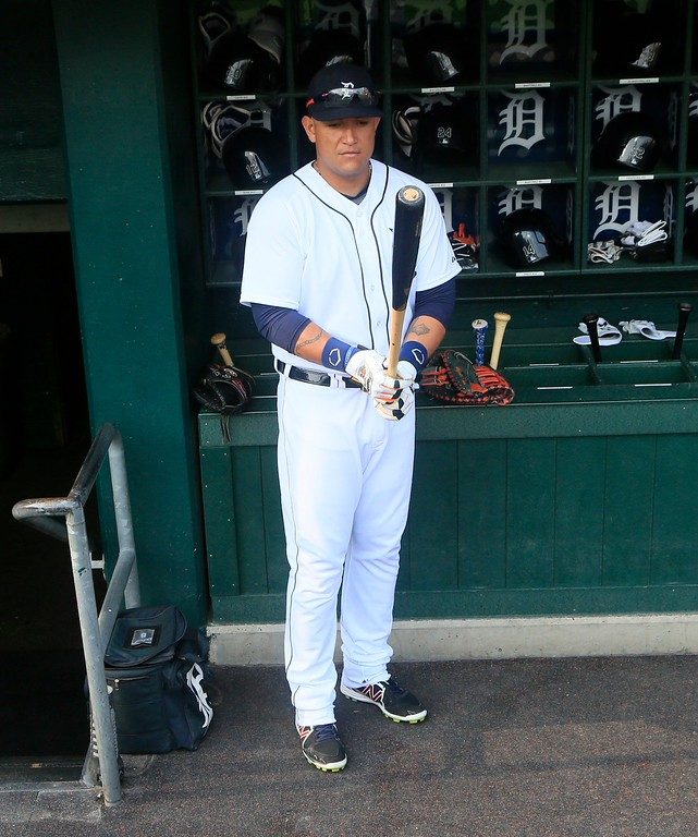 . Detroit Tigers\' Miguel Cabrera prepares to bat before the first inning of a baseball game against the Chicago Cubs, Tuesday, June 9, 2015, in Detroit. (AP Photo/Carlos Osorio)