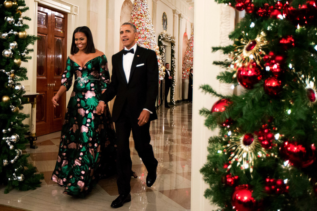 . President Barack Obama and first lady Michelle Obama arrive for a reception to honor recipients of the 2016 Kennedy Center Honors in the East Room of the White House in Washington, Sunday, Dec. 4, 2016. (AP Photo/Manuel Balce Ceneta)