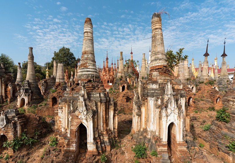 Shwe Inn Thein Pagoda, a group of ruined Buddhist stupas in the village of Inthein (Indein), Shan State, Burma (Myanmar)