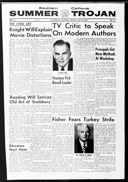 Summer Trojan, Vol. 11, No. 6, July 10, 1961