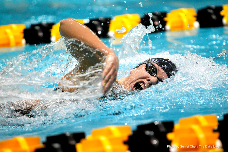 Iowa's Lind Seemann swims the 400 IM in the third heat during the finals of Day 2 of Hawkeye Invitational meet at Campus Recreation and Wellness Center on Saturday, December 1, 2012 in Iowa CIty, Iowa. (The Daily Iowan/Sumei Chen)