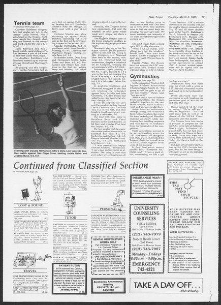 Daily Trojan, Vol. 98, No. 36, March 05, 1985