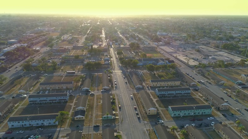 Aerial video dangerous neighborhoods Miami Florida Liberty City