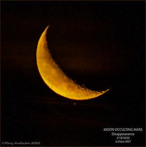 Mars Occultation by Moon 2/18/2020