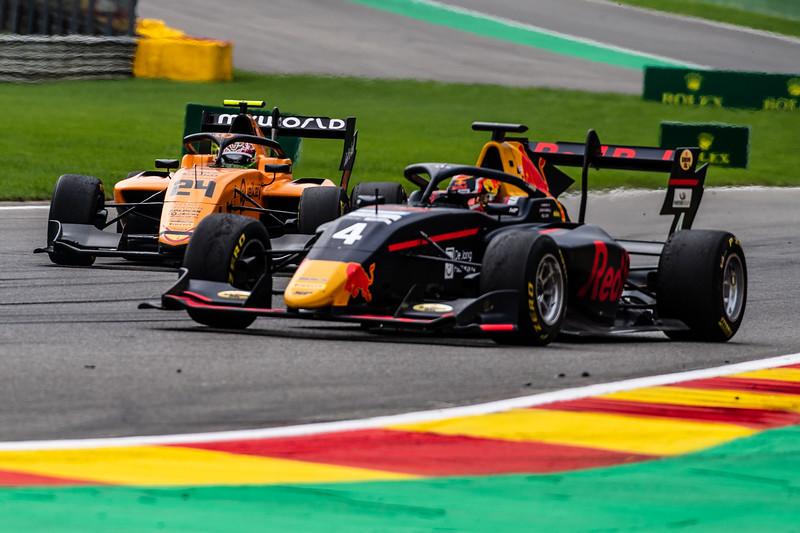 #4 Liam Lawson, MP Motorsport and #24 Alessio Deledda, Campos Racing, Belgium, 2019