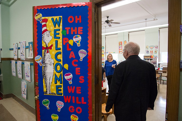 10/17/19 Wesley Bunnell | StaffrrMonsignor Daniel J. Plocharczyk, Pastor of Sacred Heart Church enters Mrs. Kerr's class at Sacred Heart School on Thursday October 17, 2019 during a class project.