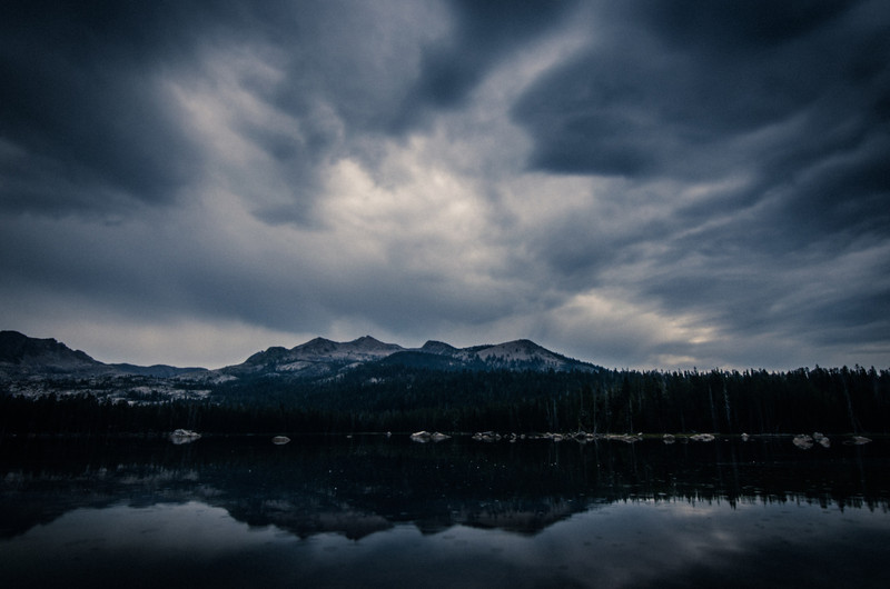 Storm clouds over Wrights Lake in the central Sierra Nevada.