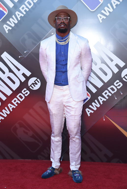 . NFL player Von Miller, of the Denver Broncos, arrives at the NBA Awards on Monday, June 25, 2018, at the Barker Hangar in Santa Monica, Calif. (Photo by Richard Shotwell/Invision/AP)